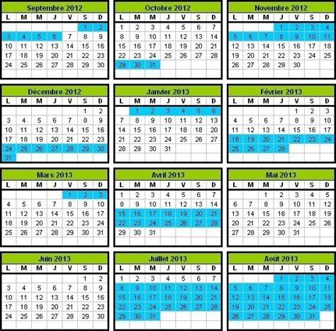 Calendrier Vacances Scolaires 2013 14 Calendrier Scolaire 2012 2013