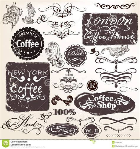 calligraphic vintage design elements vector set set of vector calligraphic vintage elements and labels for