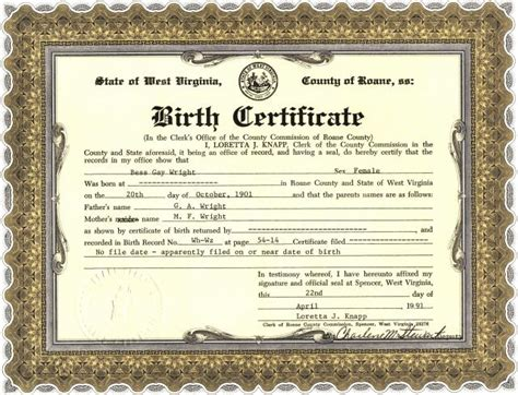 Birth Records West Virginia Birth Certificate Of Bess Wright Roane County Genealogy