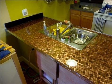 tile your home with recycled money pennies counter top