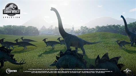 jurassic world first in game jurassic world evolution footage roars
