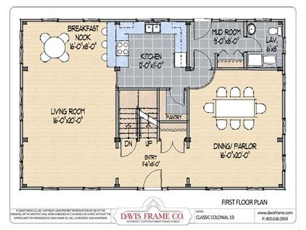 center colonial floor plan center house plans colonial house plans