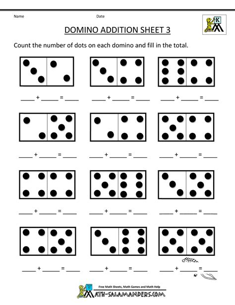 printable math numbers printable kindergarten math worksheets domino addition 3