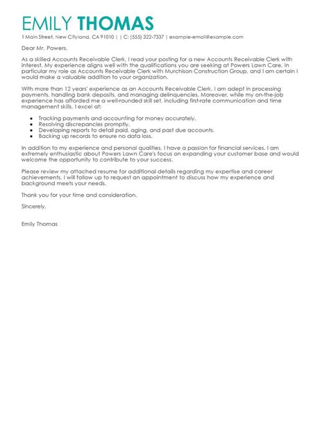 Best Accounts Receivable Clerk Cover Letter Examples