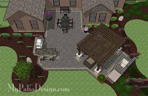 Rear Patio Designs by Courtyard Paver Patio Design With Pergola Fireplace