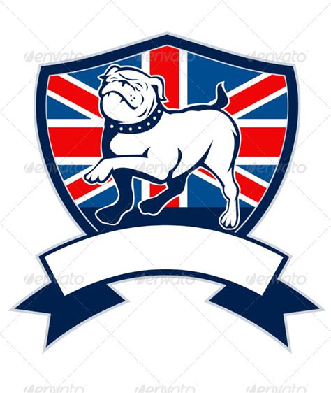 english bulldog marching union jack flag graphicriver
