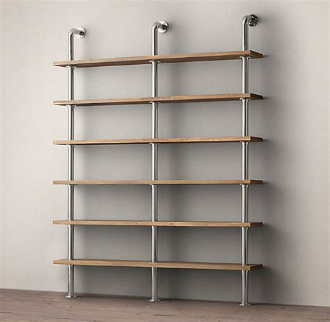 wall shelving system with industrial style decoist
