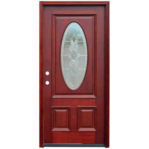 Doors Exterior Home Depot Pacific Entries 36 In X 80 In Contemporary 3 Lite Mistlite Stained Mahogany Wood Prehung Front