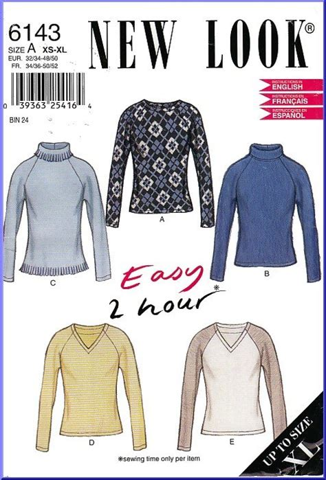 new look 6890 misses easy 2 hour pullover dress or mini new look sewing pattern 6143 sz xs xl easy 2 hour stretch