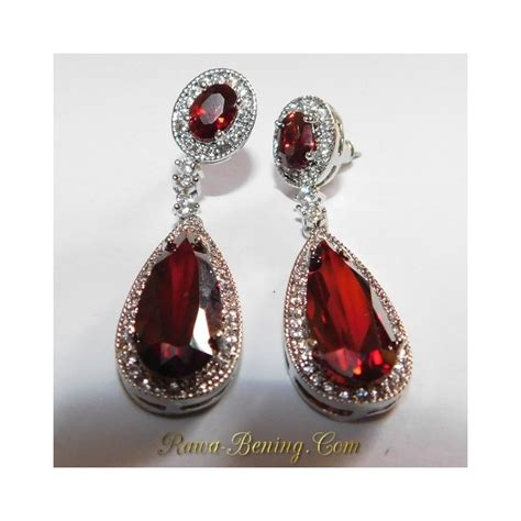 Anting Panjang Gold Imitasi anting pesta wanita permata merah sintentis gold filled