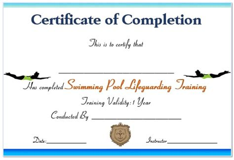 swimming certificate templates dive in swimming club gift