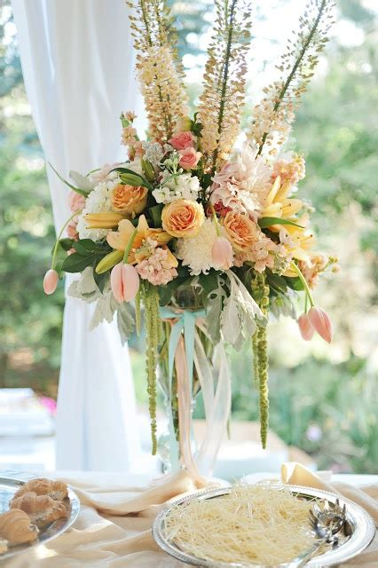 Peach And Blue Wedding Large Tall Centerpiece Not A Huge Wedding Centerpieces Not Flowers