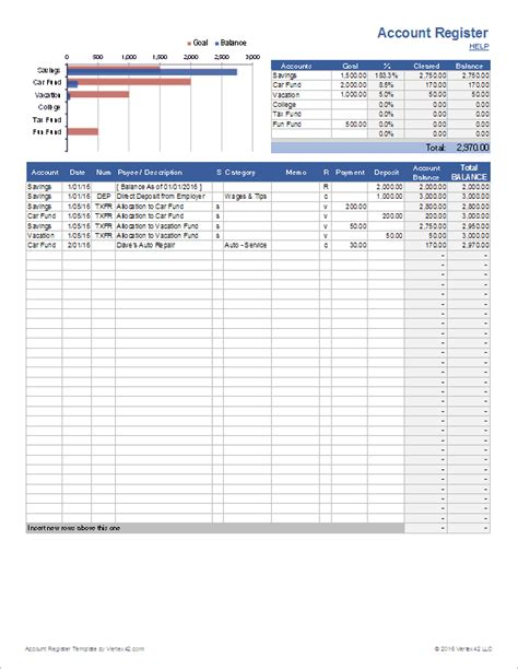 excel bank account template account register template with sub accounts in excel