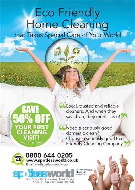 leaflet design for cleaning domestic cleaning advert with an eco friendly message