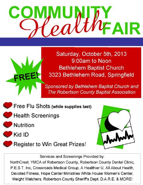 Free Community Health Fair October 5th Health And Wellness Flyer Template