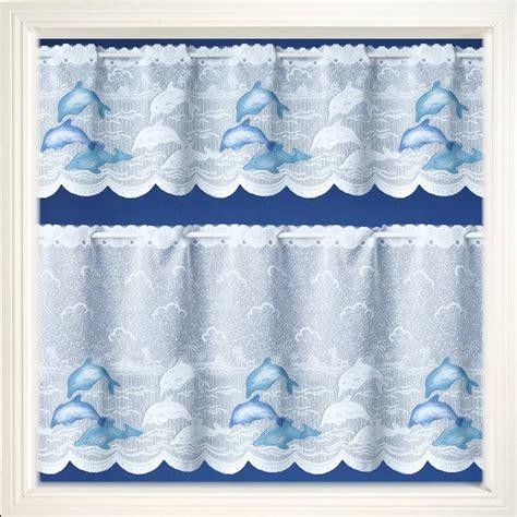 Blue Cafe Curtains Blue Dolphins Cafe Curtain Net Curtain 2 Curtains
