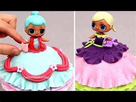 design doll 4 0 0 9 key lol doll mini cake how to make by cakes stepbystep youtube