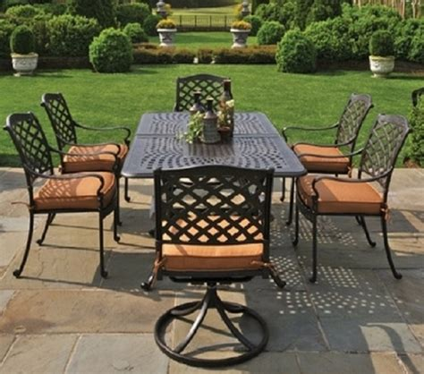 aluminum outdoor furniture sets berkshire by hanamint 6 person luxury cast aluminum patio furniture dining set w swivel chairs