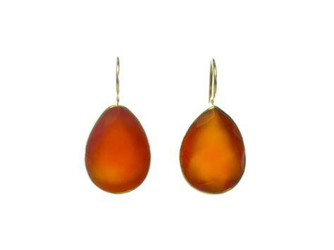Orange Carnelian earring orange carnelian teardrops in gold plated setting