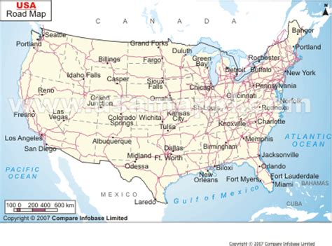 road map usa and canada map of usa and canada showing cities
