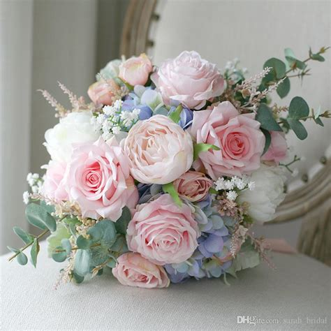 pink blue country mori cheap bridal bouquets  rose