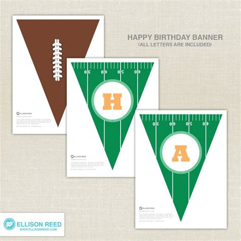 printable football banner football birthday printable party football birthday