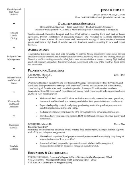 Sous Chef Resume Objective Sles This Free Sle Was Provided By Aspirationsresume