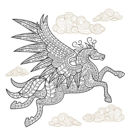 winged horse coloring page pegasus winged horse adult coloring page craftfoxes