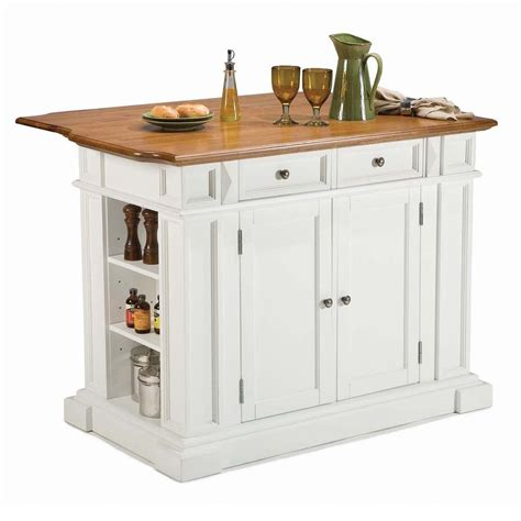 Stationary Kitchen Islands With Seating Shop Home Styles 48 In L X 25 In W X 36 In H White Kitchen Island At Lowes