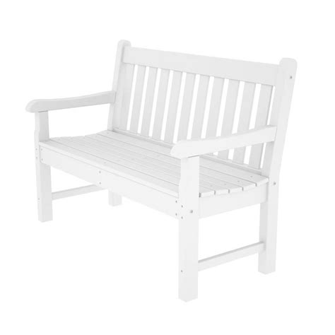 white plastic bench shop polywood rockford 24 in w x 48 in l white plastic