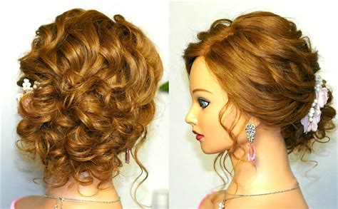 prom wedding hairstyle curly updo for medium hair tutorial