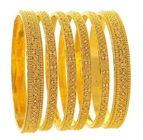 Handmade Gold Bangles - 22kt gold bangles bast3824 22kt gold bangles set of 6