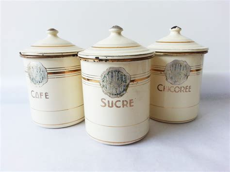 French Country Kitchen Canisters | 1940 s french kitchen canisters set french enamelware