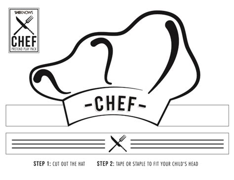 chef template chef hat cutout free printable coloring pages
