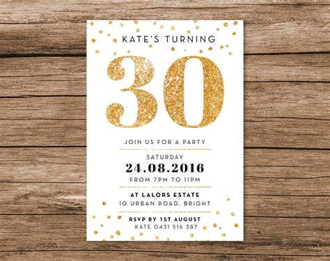 30th birthday invitation card template gold 30th birthday invitation a6 digital file by