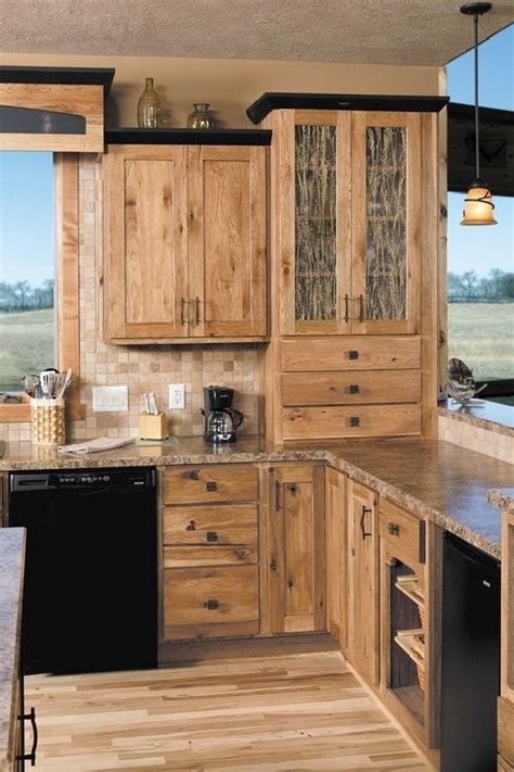 Rustic Black Kitchen Cabinets Hickory Cabinets Rustic Kitchen Design Ideas Wood Flooring Pendant Lights Hickory Cabinets