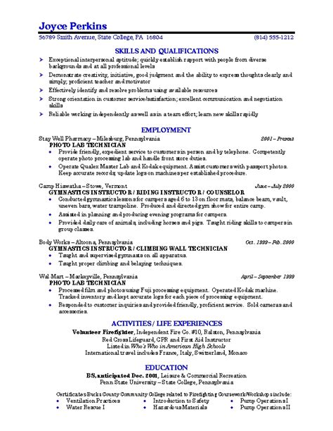 Exles Of Resumes For College Students by Resume Exles For College Students