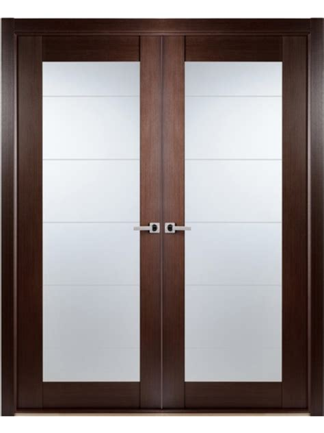 Contemporary African Wenge Interior Double Door Lined Frosted Glass Doors Interiors