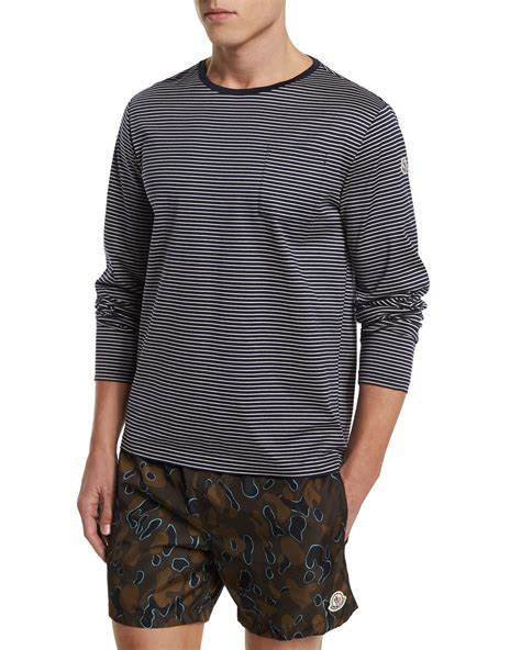 Navy Sleeve White moncler striped sleeve t shirt in blue for lyst