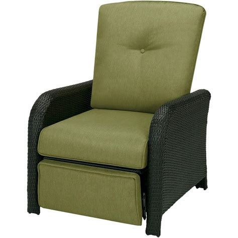 Reclining Patio Chairs Hanover Strathmere 1 Outdoor Reclining Patio Lounge Chair With Cilantro Green Cushions