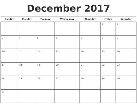 Calendar Template December 2017 Monday sunday   Calendar