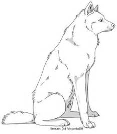 Wolf Sitting Outline wolf outline world