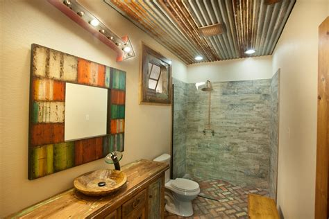 tin ceiling in bathroom corrugated tin ceiling bathroom rustic with arrow light