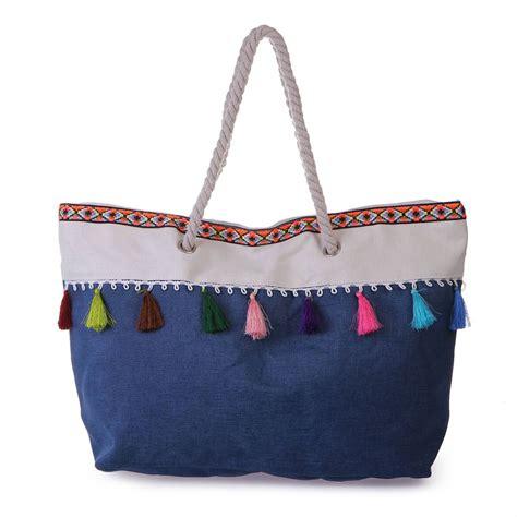 sac de plage bleu 224 pompons et motifs azt 232 ques femme pas cher la modeuse