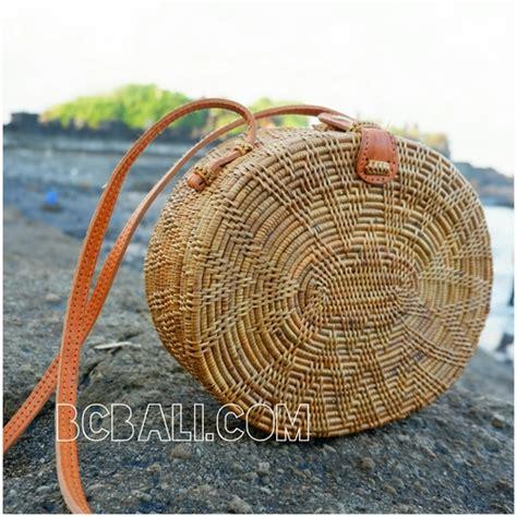 Handbag Motif Unik Handmade rattan ata handbags motif oval design leather handle handmade rattan ata handbags motif