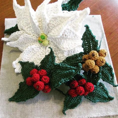 pattern crochet poinsettia poinsettias and winter berries or english holly berries
