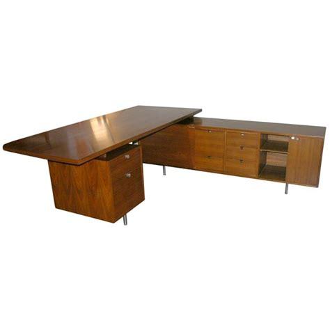 george nelson l shaped walnut executive desk herman miller