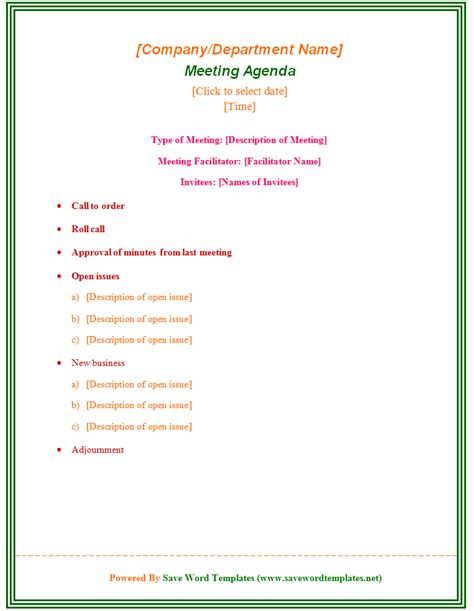 enticing template word sle for meeting agenda with type