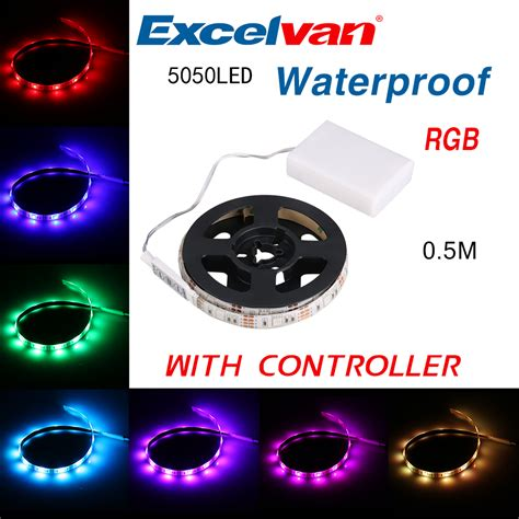 battery operated strip lights waterproof 50cm 5050 rgb led christmas party battery