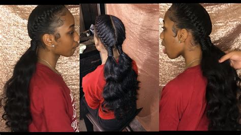 human hair ponytail with goddess braid two goddess under braids w curly ponytail tutorial youtube